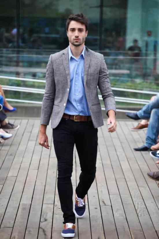 Chinos are acceptable making this a great business casual outfit
