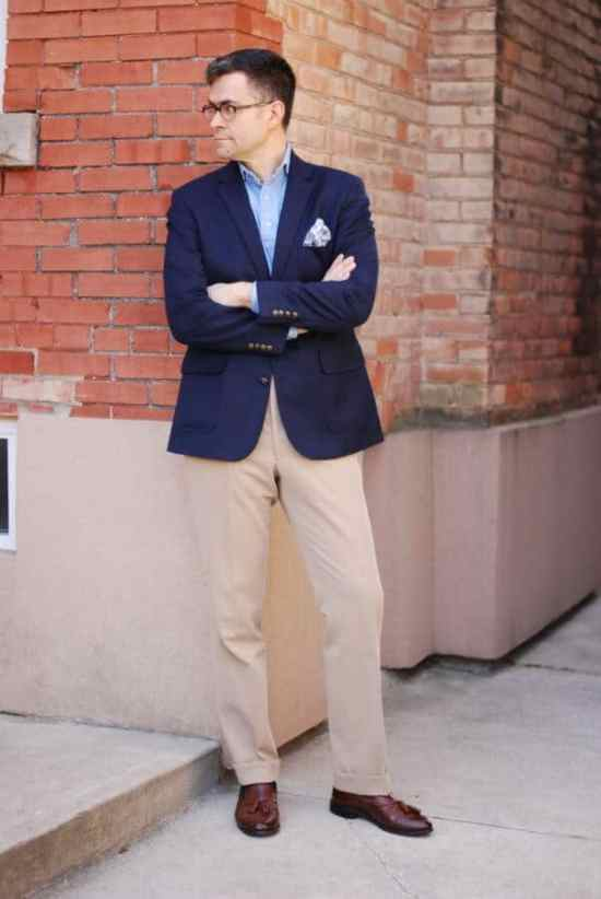 Business Casual Outfit by Hogtownrake - Single Breasted Blazer with popover shirt, cotton pocket square, khakis and brown tassel loafers