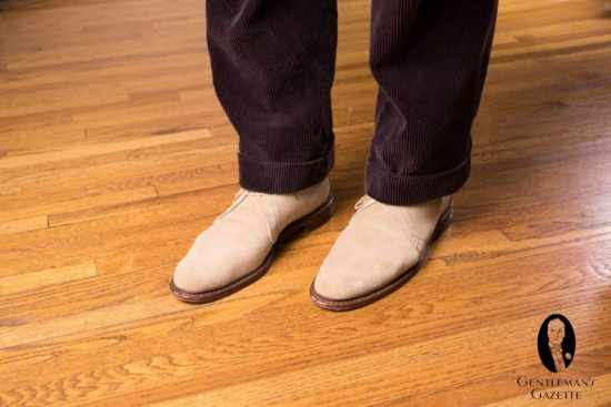 Allen Edmonds Suede Chukka Boots with Corduroy