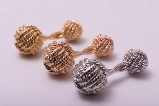 Monkeys Fist Knot Cufflinks - 925 Sterling Silver Platinum, Rose Gold and Yellow Gold Plated - Fort Belvedere