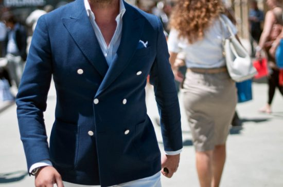 A unique navy blazer can work to give you a second jacket without looking similar to your suit jacket