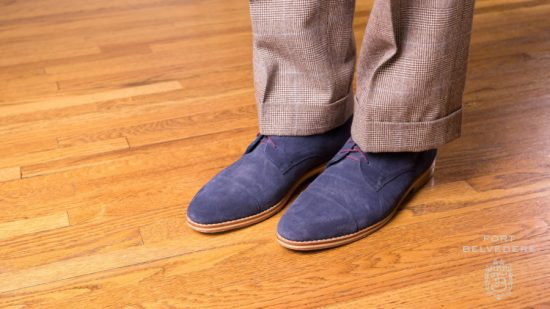 Blue suede boots with Glen plaid trousers
