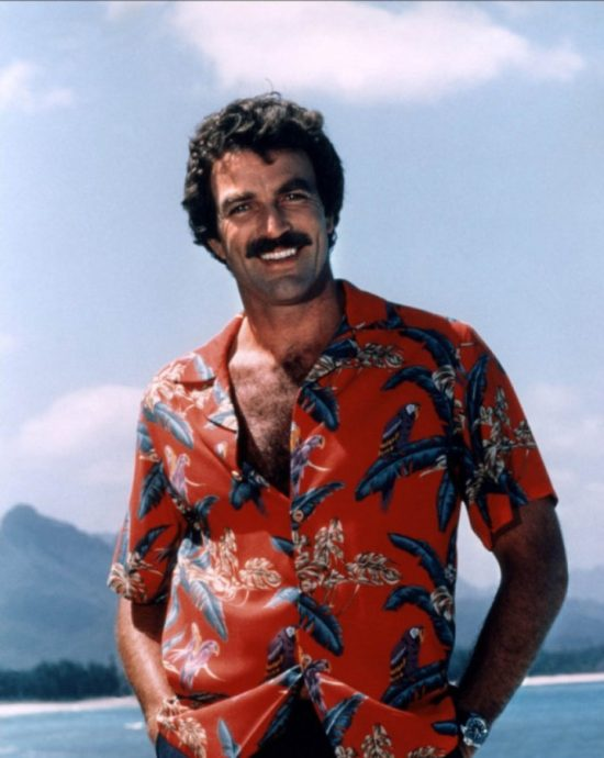Tom Selleck with chest hair protruding from his shirt