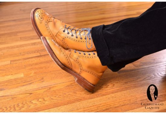 Tan Wingtip Lace-Up Derby Boot with Blue Grey Boot Laces Round Waxed Cotton - by Fort Belvedere with black corduroy trousers