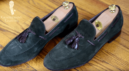 Tassel Loafer in Olive Green