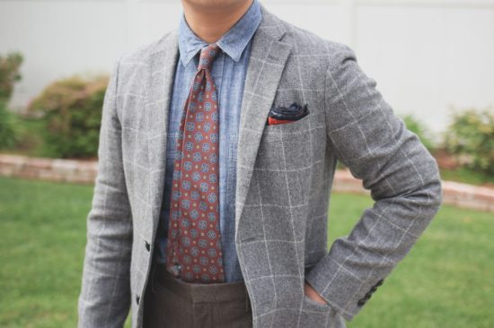 Tie tucked into waistband