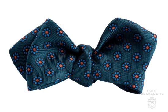 Bottle Green Ancient Madder Silk Micropattern Bow tie with green and orange by Fort Belvedere - Self Tie Adjustable