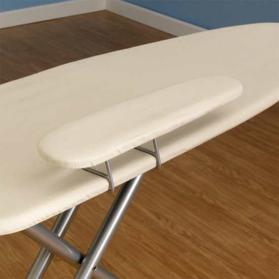 A spacious ironing board with attached sleeve board