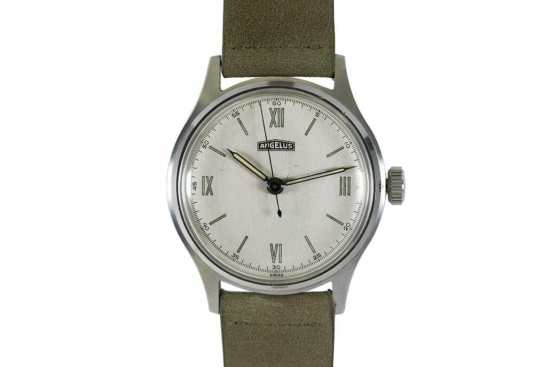 Angelus automatic wristwatch in stainless steel