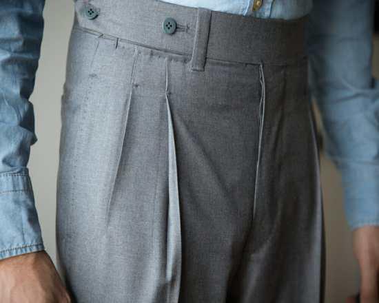 Paul Lux wearing trousers with open pleats.