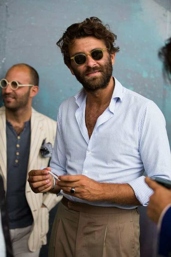 Pleated trousers and a shirt with no jacket at Pitti Uomo
