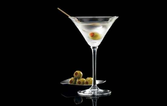 A Dry Martini garnished with olives