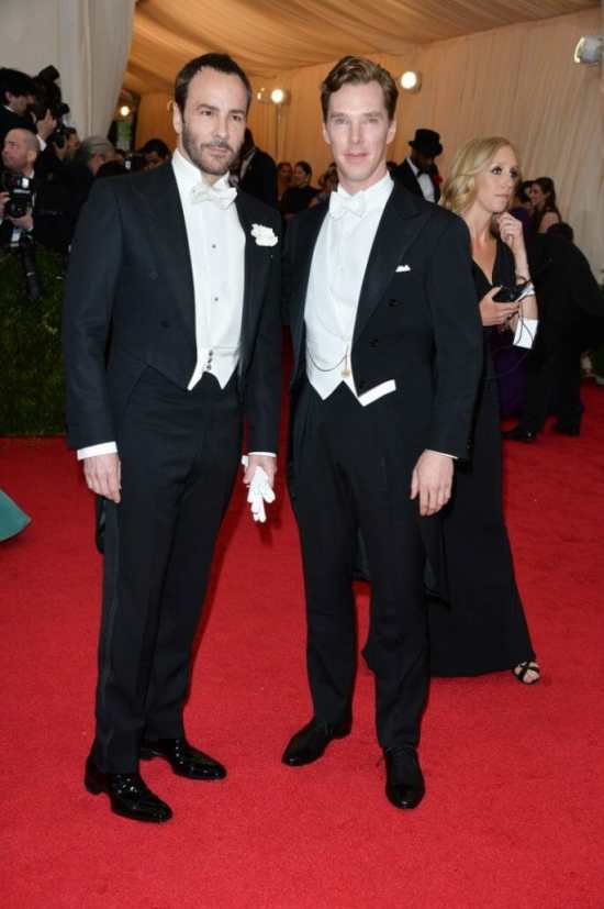 In a white tie with Tom Ford at the Met Gala