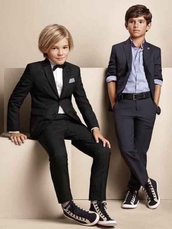 Let kids experiment with personal style without harsh judgment even if they want to wear sneakers with a suit.