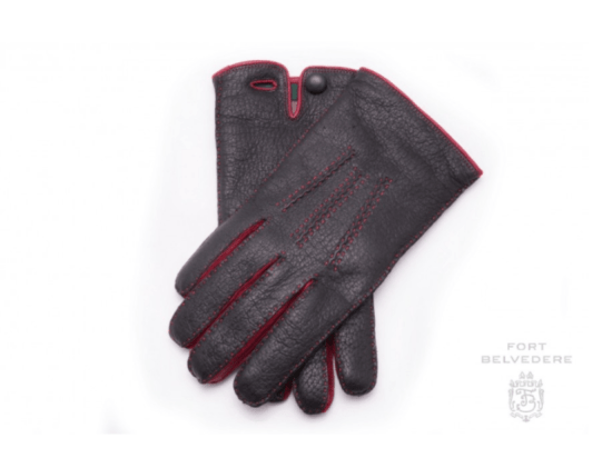 Black and Red Peccary Gloves Cashmere Lined Waterproof - Fort Belvedere
