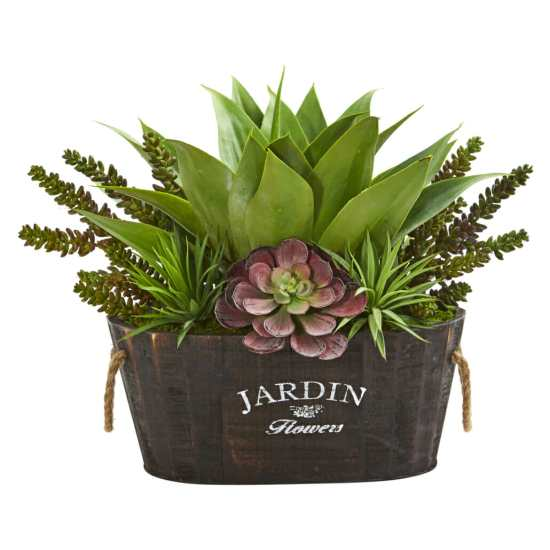 Faux succulent planter by Nearly Natural