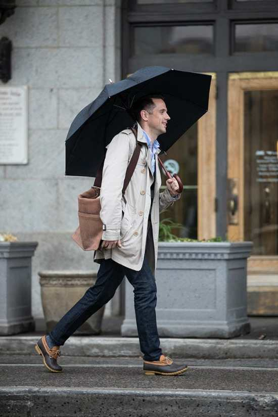 "Hepokestyle's Brian Sacawa wearing L.L. Bean ""duck shoes"" in rainy weather."