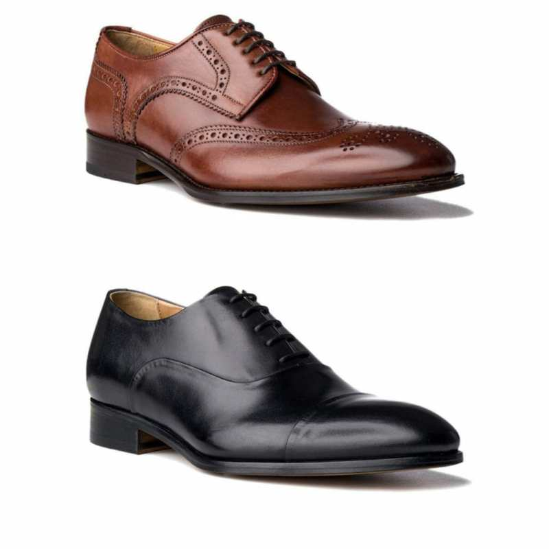 A cognac wingtip derby shoe with broguing versus asimpleblack captoe oxford, both from Acemarks