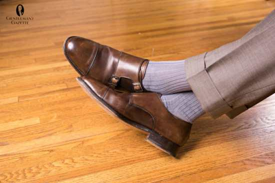 Dark brown double monks paired with OTC socks from Fort Belvedere