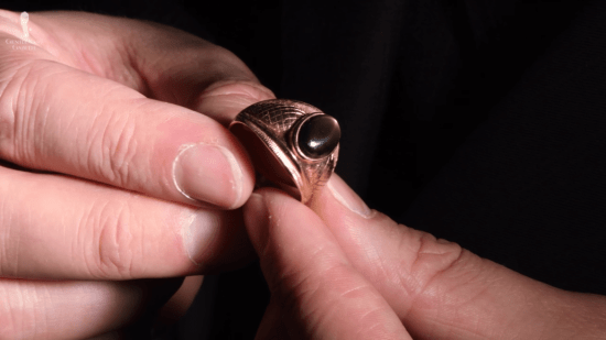 Dark star sapphire ring