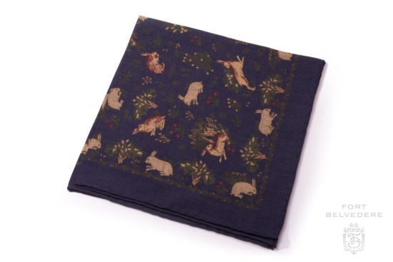 Buff Rabbits on Navy Blue with Green Silk Wool Pocket Square - Fort Belvedere