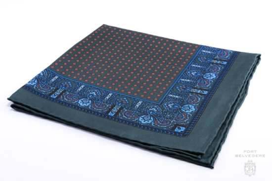 Dark Green Silk Pocket Square with Orange Dots Motifs and Blue Paisley - Fort Belvedere