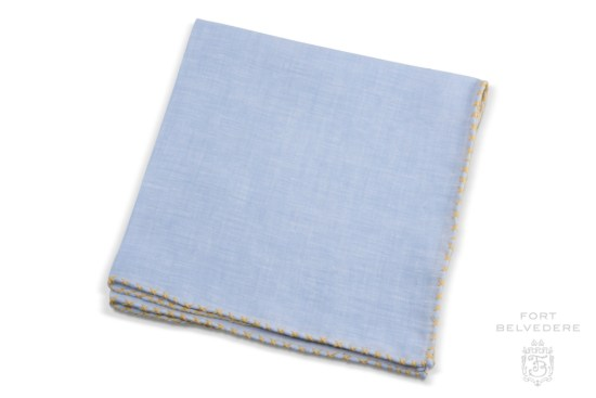 Light Blue Linen Pocket Square with Yellow Handrolled X Stitch - Fort Belvedere