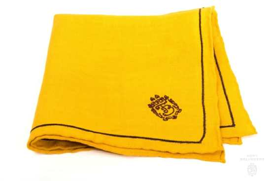 Mustard Yellow Linen Pocket Square with Brown Contrast Embroidery - Fort Belvedere