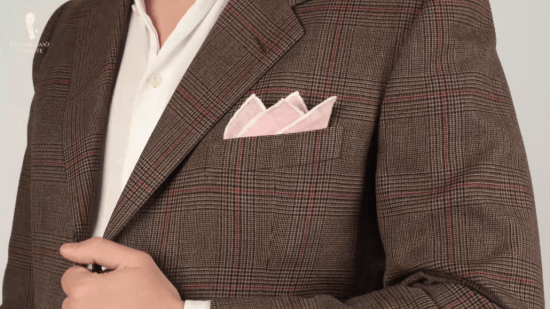 Pink pocket square with white contrast edge