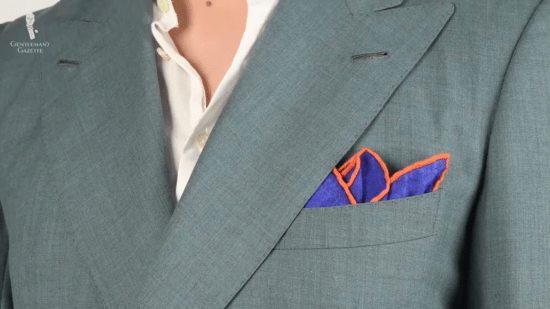 Pocket square with orange edges