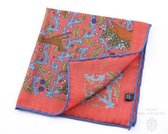 Salmon Silk-Wool Pocket Square with Hunting Print Motifs - Fort Belvedere
