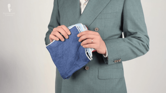 Darker colored pocket squares with white edges