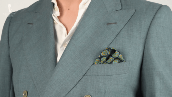 Teal and mustard yellow pocket square