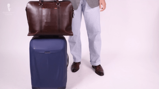 Brown leather bag for laptop and camera