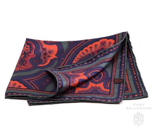 Silk Pocket Square in Green with Orange Large Paisley Pattern- Fort Belvedere