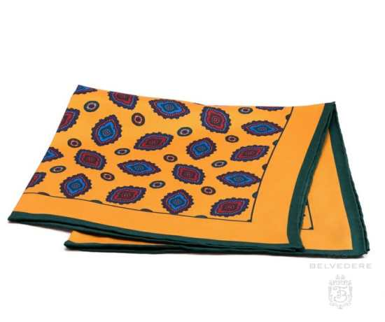 Silk Pocket Square in Yellow with Diamond Motif and Green Contrast Edge - Fort Belvedere