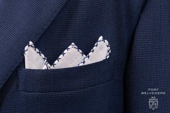 White Linen Pocket Square with Navy Blue Handrolled X Stitch - Fort Belvedere