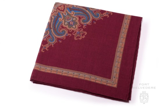 Wine Red, Yellow,Blue, Green, Orange Silk Wool Medallion Pocket Square - Fort Belvedere