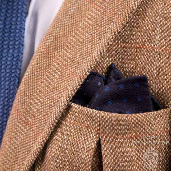 Navy Wool Challis Pocket Square with Blue Polka Dots
