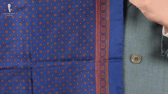 Blue pocket square with small patterns