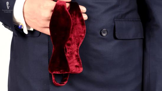 Red velvet bow tie prototype from Fort Belvedere
