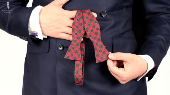 Vintage English madder silk bow tieVintage English madder silk bow tie