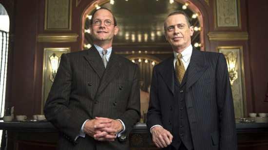 Matt Letscher as Joe Kennedy and Steve Buscemi as Nucky Thompson in a still from Boardwalk Empire.