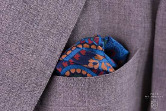 Green Madder Silk Pocket Square with Turquoise,Orange and Yellow Large Paisley- Fort Belvedere