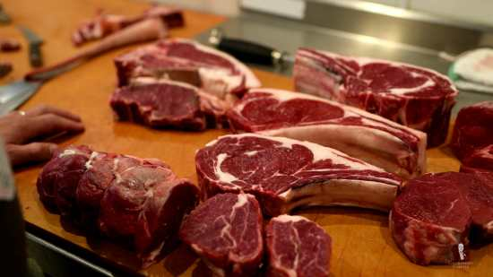 Assortment of Steak Cuts at the butcher