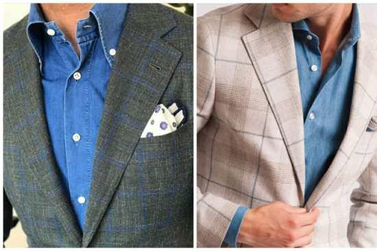 Denim shirt with overcheck jacket