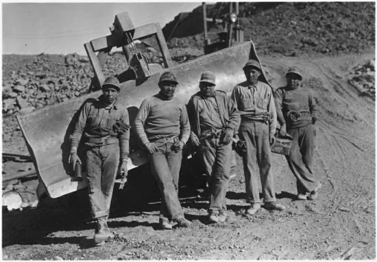 Native American construction workers wearing denim