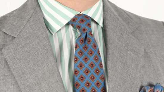 Striped green and white dress shirt with micropattern tie from Fort Belvedere
