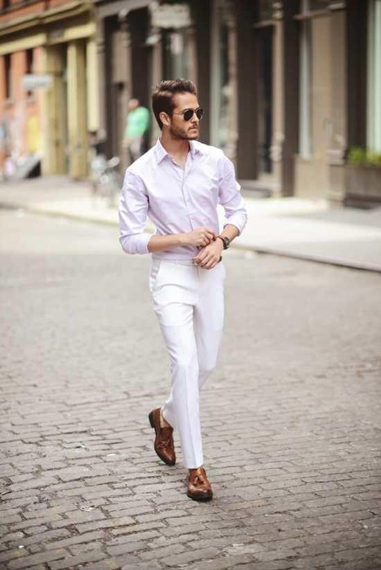 Pink shirt white pants