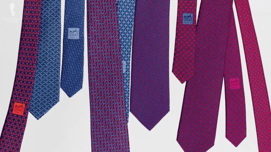 A variety of Hermes ties